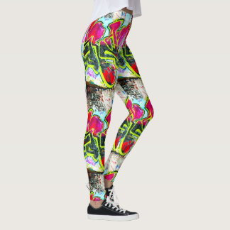 bold abstract graffiti multi-colored leggings