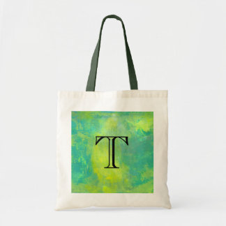 Bold Abstract In Green and Yellow Monogram Initial Budget Tote Bag