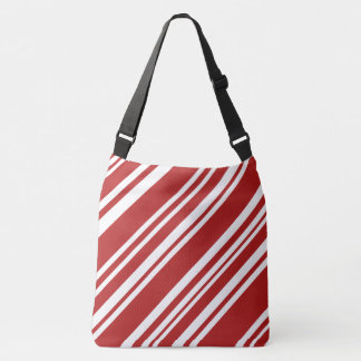 Bold All-Over-Print Red & White Peppermint Stripes Crossbody Bag