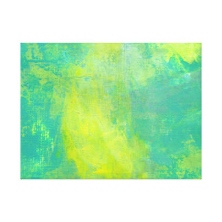 Bold and Bright Abstract In Green and Yellow Stretched Canvas Print