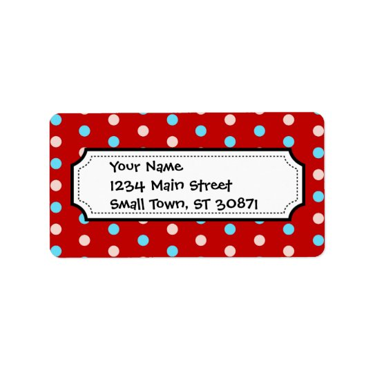 Bold and Bright Red and Blue Polka Dots Label