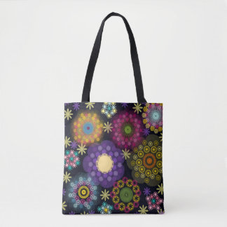 Bold and Colorful Floral on Black Bag Tote Bag