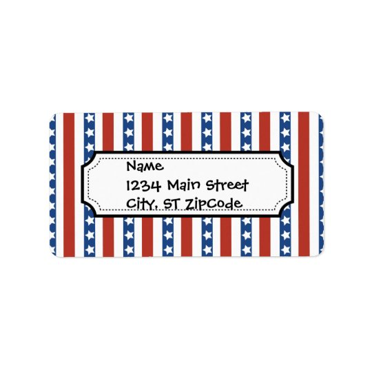 Bold and Fun 4th of July Stars and Stripes Pattern Address Label