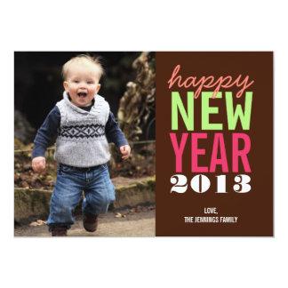 Bold and happy new year greeting modern photo card 13 cm x 18 cm invitation card
