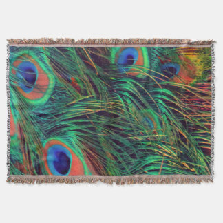Bold and Rich Peacock Throw Blanket