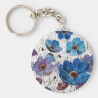 Bold Anemones Basic Round Button Key Ring