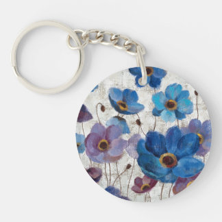 Bold Anemones Double-Sided Round Acrylic Key Ring