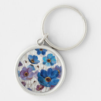 Bold Anemones Silver-Colored Round Key Ring