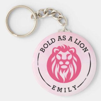 Bold As A Lion Keychain, Pink Lion Key Ring