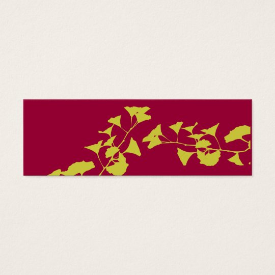 Bold Asian Colours of Nature Ginkgo Branches Mini Business Card