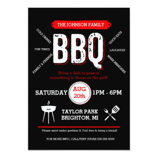 Bold BBQ Picnic Invitation, Barbecue Invite