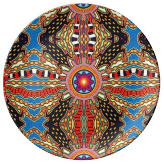 Bold bit rant colourful decorative plate