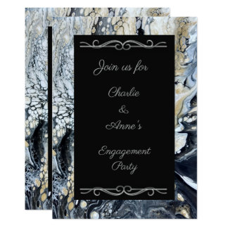 Bold Black Abstract Engagement Party Invitation