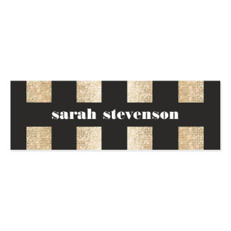 Bold Black and Gold Faux Sequin Modern Fashionista Pack Of Skinny Business Cards
