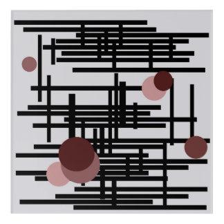 Bold black and grey abstract painting with circles acrylic wall art