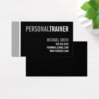 Bold Black and Grey Personal Trainer Business Card