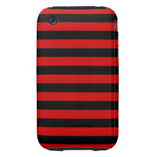 Bold Black and Red Stripes Pattern Tough iPhone 3 Case