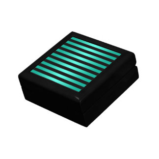 Bold Black and Teal Stripes Pattern Jewelry Box