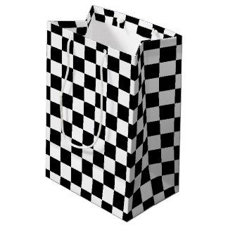 Bold Black and White Checkered Gift Bag