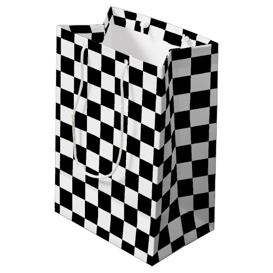 Bold Black and White Chequered Gift Bag
