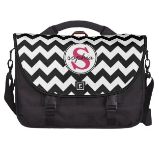 Bold Black and White Chevron with Hot Pink Initial Laptop Bags