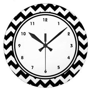 Bold Black and White Chevron Zigzag Clock