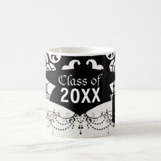 bold black and white damask pattern graduation classic white coffee mug