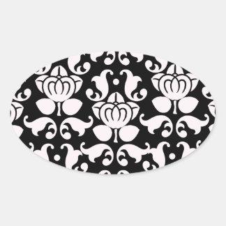 bold black and white damask pattern oval sticker