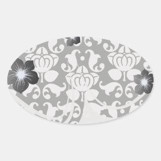 bold black and white damask pattern stickers