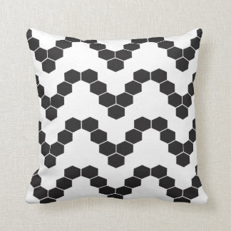 Bold Black and White Hexagon Pattern Design Pillow