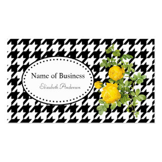 Bold Black and White Houndstooth Chic Yellow Roses Pack Of Standard Business Cards