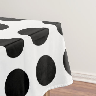 Bold Black and White Polka Dot Tablecloth