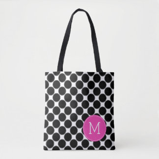 Bold Black and White Polka Dots with Pink Monogram Tote Bag
