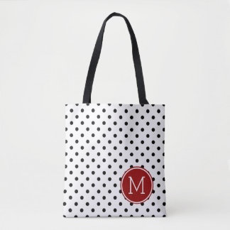 Bold Black and White Polka Dots with Red Monogram Tote Bag