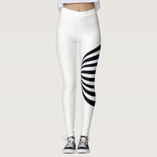 bold black and white stripe leggings