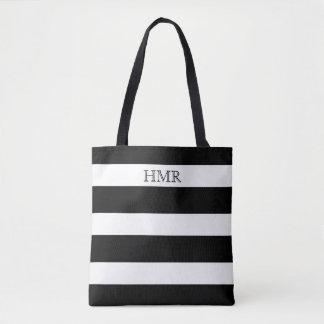 Bold Black and White Stripe Monogram Tote Bag