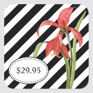 Bold Black and White Stripes Amaryllis Price Tags Square Sticker