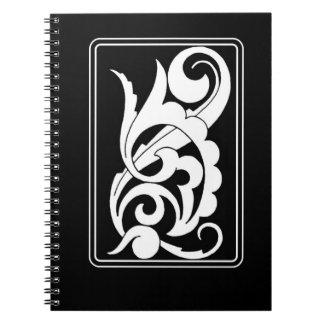 Bold Black  and White Swirl Deco Design Notebooks