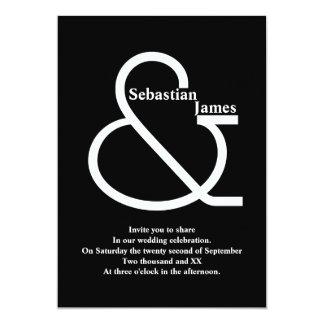 "Bold Black and White Wedding 5"" X 7"" Invitation Card"