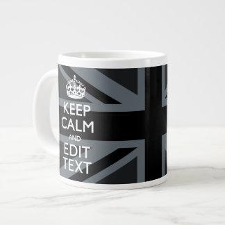 Bold Black Black  Keep Calm Your Text Union Jack Jumbo Mug