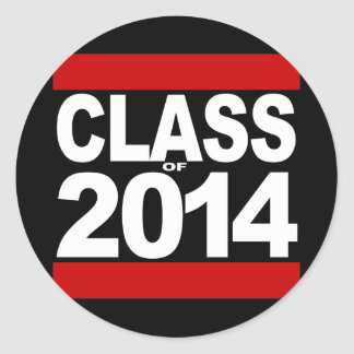 Bold Black Block Class of 2014 Graduation Classic Round Sticker