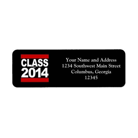 Bold Black Block Class of 2014 Graduation Return Address Label