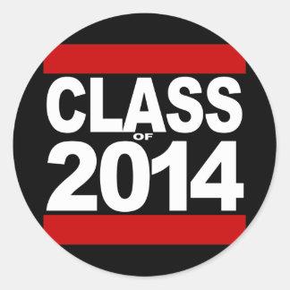 Bold Black Block Class of 2014 Graduation Round Sticker