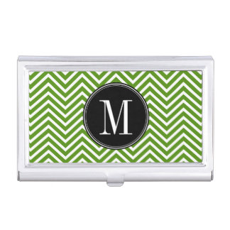 Bold Black Circle Monogram with Chevron Pattern Business Card Holder