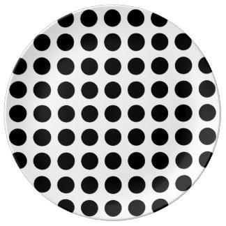 Bold Black Dots on White Porcelain Plate