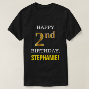 Bold Black Faux Gold 2nd Birthday W Name Shirt