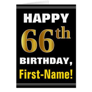 Bold, Black, Faux Gold 66th Birthday w/ Name Card