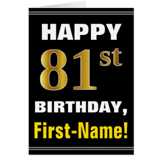 Bold, Black, Faux Gold 81st Birthday w/ Name Card
