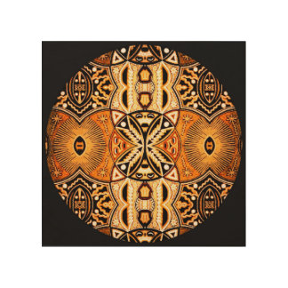 Bold black gold tribal abstract mandala on wood wood wall art