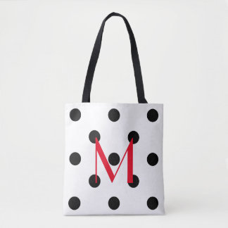 Bold Black Polka Dots on White with Red Monogram Tote Bag